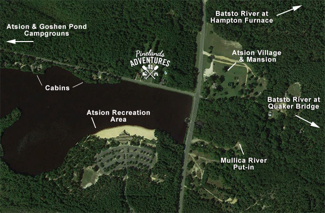 map of Atsion lake are surroundings.