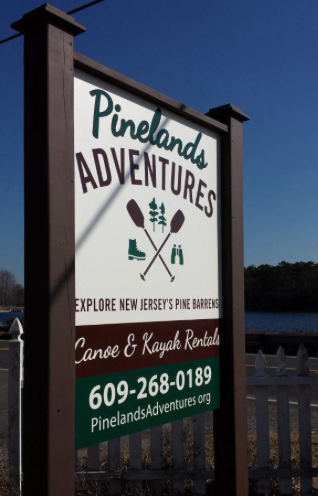 Pinelands Adventures sign, pine barrens canoeing and kay